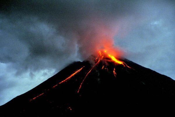Costa Rica - Arenal Volcano by night with lightning...
